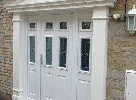 White Tenby composite door with side panels and Royale glass, fitted in home in Elvington, York.