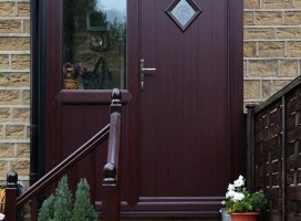 Italia Collection Bologna composite door in Rosewood with integrated side panel.