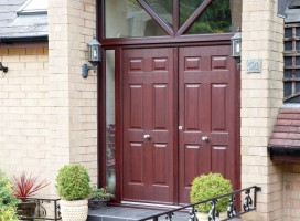 Tenby composite French doors in Rosewood, Taylor Hill