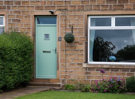 Flint 1 composite door in Chartwell Green with square window, Netherton