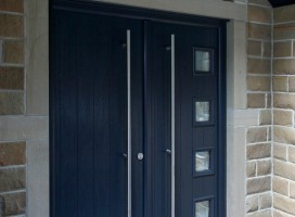 Bespoke French composite door in Anthracite Grey with shaped top window panel, Holmfirth