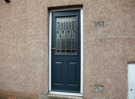 Beeston composite door in Anthracite Grey with Prairie glass, Holmfirth