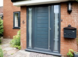 Windsor solid composite door in Anthracite grey with glass border panels, Almondbury