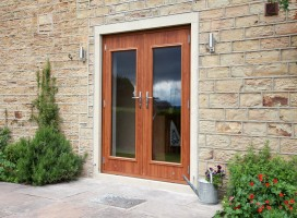 Biella French composite doors in Golden Oak, Kirkburton