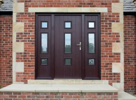 Genoa composite door and integral side panels in Rosewood with satin glass.