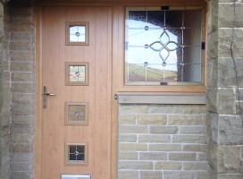 Bespoke composite door with side light in Irish Oak with White interior, installed in Slaithwaite, Huddersfield