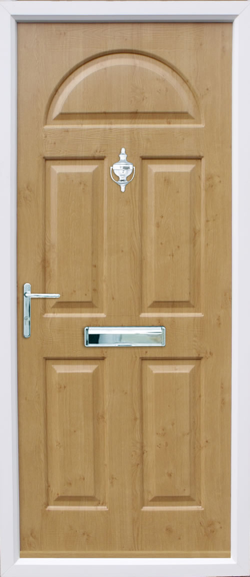 Conway Solid composite door in Irish Oak.